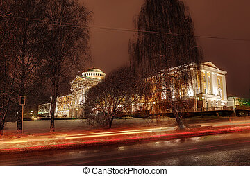the presidential palace in the city of Izhevsk in the winter...