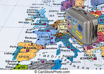 Europe map and travel case with stickers (my photos)
