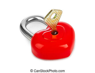 Heart shaped lock and key isolated on white background