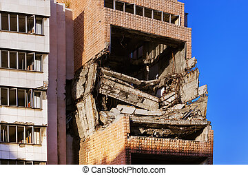 Ruins of Ministry of Defense Building from NATO Bombing -...