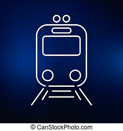 Tram icon on blue background - Tram icon Tramway station...