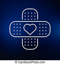 Heart aid icon on blue background - Band aid plaster icon...