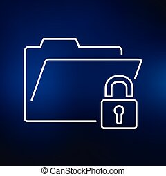 Folder lock icon on blue background - Secure folder icon....