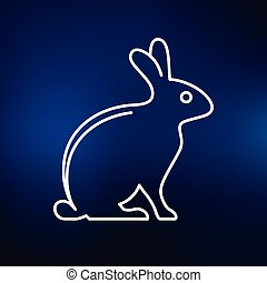 Rabbit icon on blue background - Bunny rabbit icon Bunny...