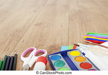 Arts and crafts - pens and paper for painting or creative...