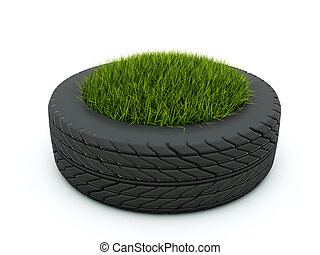 Tire with grass isolated on white