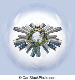 Tiny planet with skyscrapers - Overpopulated Tiny little...