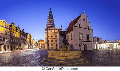 Night view of Poznan Old Market Square in western Poland...