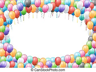 Balloons header template - Colored balloons frame A4...
