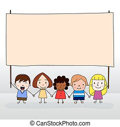 Children holding board