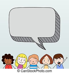Children with speech bubble