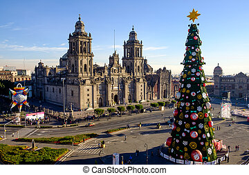 View of Zocalo, cathedral and Christmas tree in Mexico city,...