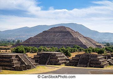 escénico, vista, de, pirámide, de, el, sol,...