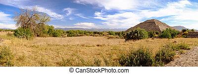 panorámico, vista, en, Teotihuacan, con,...