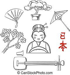 Japanese travel and cultural sketch icons with cherry...
