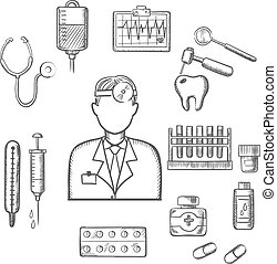 Doctor therapist with medical sketch icons - Doctor...