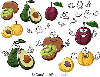 Cartoon avocado, kiwi, plum and peach - Avocado pear, purple...
