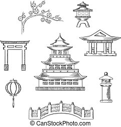 Japan travel icons in sketch style with traditional japanese...