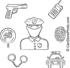 Policeman in uniform with sketched police icons - Policeman...