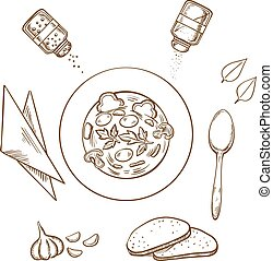 Sketch of hot soup with bread and condiments