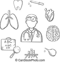 Human organs and medical sketch icons - Medical sketch icons...
