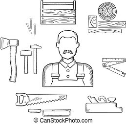 Carpenter with timber and tools sketch icons - Carpenter...