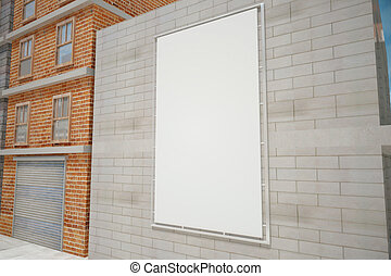 Blank white poster on grey brick wall on the city street,...