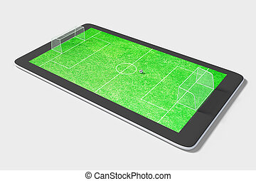 Onlie game concept with digital tablet and football field