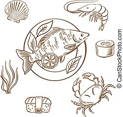 Seafood sketches with fish, sushi, crab and shrimp