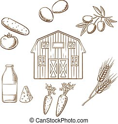 Farming and agriculture sketched icons - Farming and...