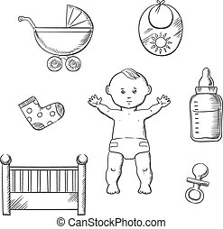 Baby sketch design with toys and objects - Baby sketch...