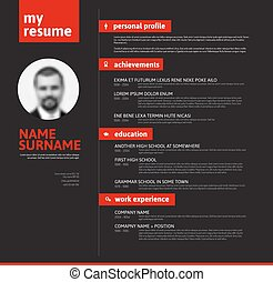 cv resume template with nice typography - Vector minimalist...
