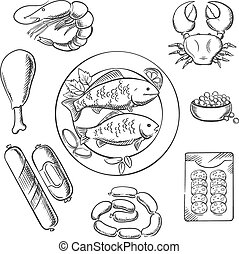 Seafood and meat sketched icons with fish, crab, prawn,...