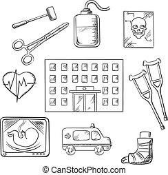 médico, hospitalar, objetos, cuidados de saúde