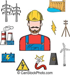 Electricity industry sketch with power icons - Electricity...