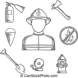 Firefighter profession hand drawn sketch icons - Firefighter...