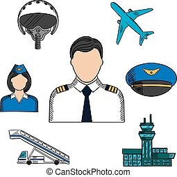 Aviation and aircraft color sketch icons - Pilot and...