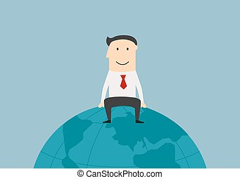 Successful businessman sitting on the earth globe
