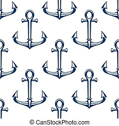 Seamless marine pattern with blue ship anchors - Seamless...