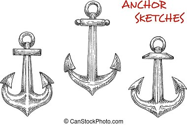 Old marine anchors hand drawn sketches - Marine anchors...