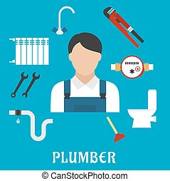 Plumber with tools and equipment, flat icons