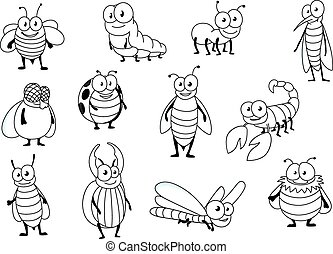 Funny cartoon colorless insect characters - Funny cartoon...