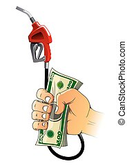 Hand with gasoline pump nozzle and money - Red gasoline pump...