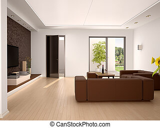 3d illustration of Interior design living room in a modern style