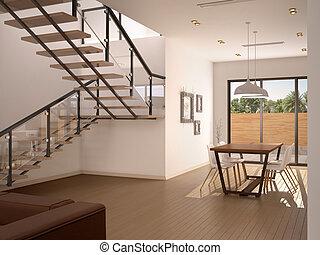 3D, Illustration, de, élégant, maison,...