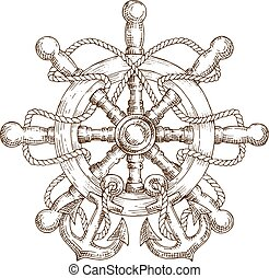 Sketch of nautical helm with rope and anchors - Sketch of...