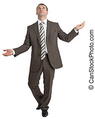 Businessman juggling invisible things isolated on white...