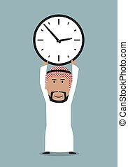 Arabian businessman with office clock above head