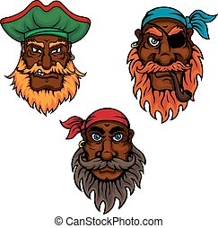 Cartoon pirate captain and sailors heads - Cartoon dark...