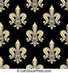 Vintage seamless golden fleur-de-lis pattern with decorative...